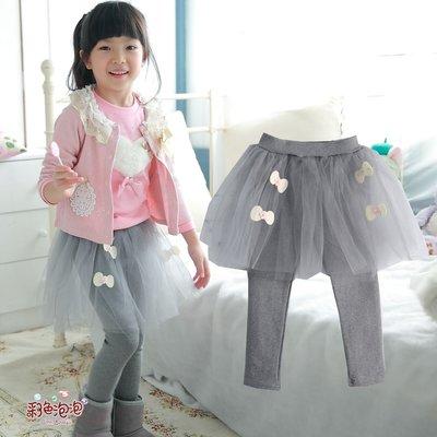 ○。° 彩色泡泡 °。○ 童裝【貨號Q7491】冬。灰色綴花結加厚刷毛貼腿長紗褲裙