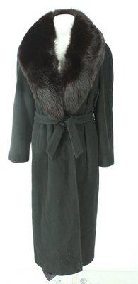 REGENCY 100%CASHMERE WOOL Black Belted Full Coat