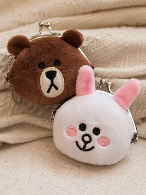 【便利公仔】含運 LINE布朗熊毛絨玩具可妮兔布朗熊迷你零錢包硬幣包掛件書包小掛件