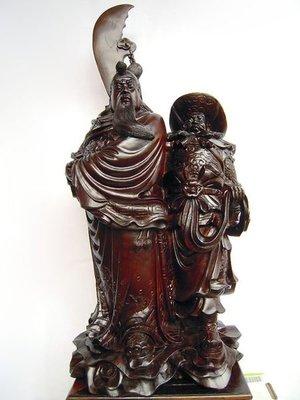 【九天坊─藝雕品】*台灣紅木雕-關公、周倉(1尺3老件 優惠免運費) *FA707