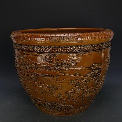 ㊣姥姥的寶藏㊣ 大清乾隆黃釉雕刻浮雕三顧茅廬人物瓷缸  官窯古瓷器古玩古董收藏