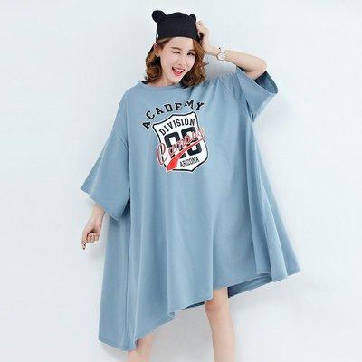 【BU GU】大碼秋冬新品~加大裙擺 蝙蝠袖字母數字印花 寬鬆連身裙 T裙~兩色