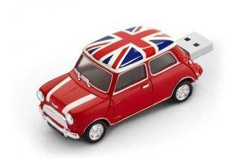 英國旗 8GB Mini cooper創意可愛mini austin奧斯丁老咪小汽車模型隨身碟-共有五種顏色