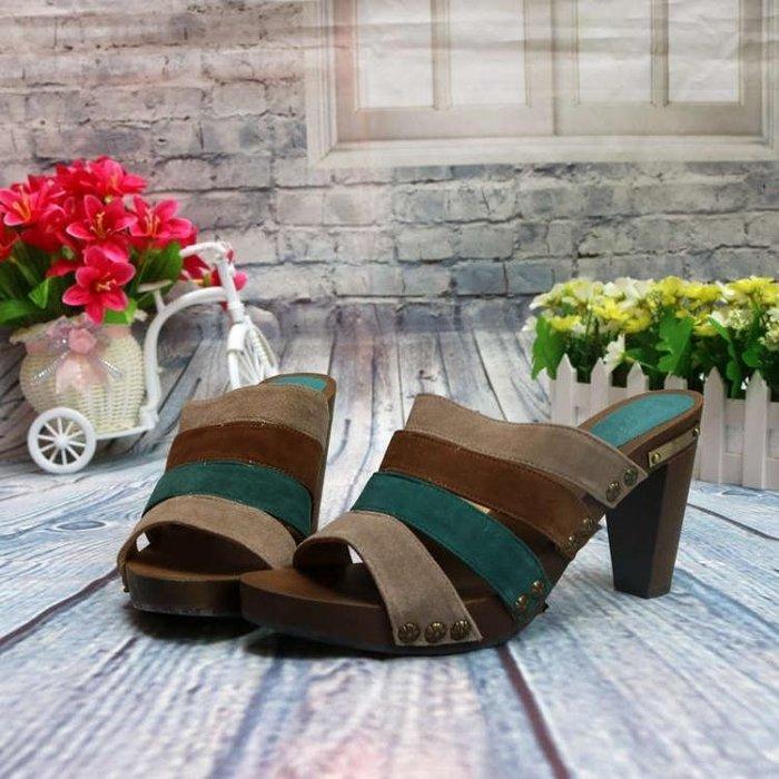 拼色鉚釘復古木跟木屐鞋時尚牛反絨女鞋涼鞋子涼拖鞋C62-1