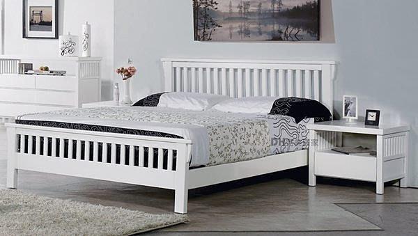【DH】商品貨號DH036商品名稱《娜斯》6尺精製白色實木雙人床架。備有5尺。優美雅緻時尚。主要地區免運費