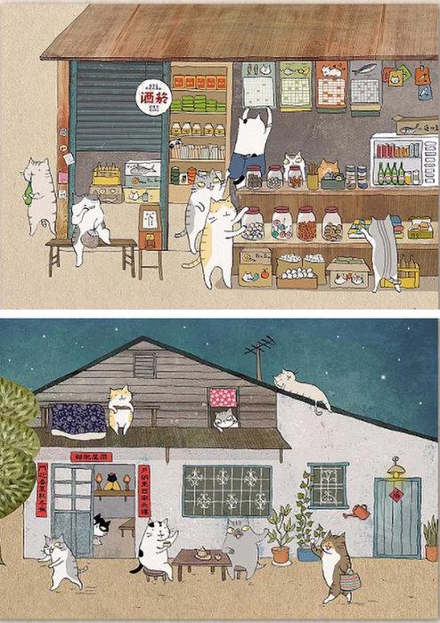 拼圖專賣店 UDN1000-003 1000-004 (1000片 貓小姐 柑仔店, 貓小姐 夏夜晚風)
