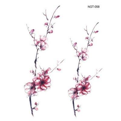 【萌古屋】枝葉梅花 - 男女防水紋身貼紙刺青貼紙 K03