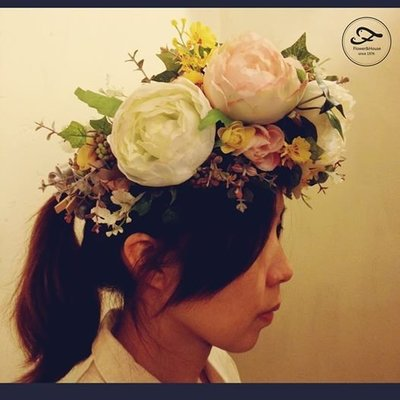 H06。森林系頭花。牡丹頭花。仿真花。鮮花頭花。客製新娘捧花身體花飾。台北自取【Flower&House花藝之家】