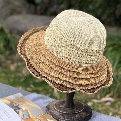 好物多商城 手工編織草帽女夏小清新文藝出游防曬遮陽帽百搭海邊漁夫沙灘帽子