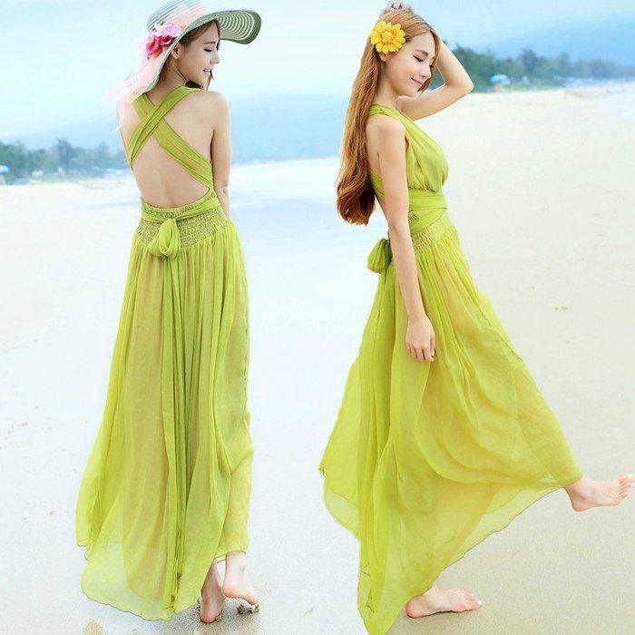 韓 實拍 ♥ 顯瘦連衣裙 E8593 露背性感長款 洋裝 連身裙 沙灘裙