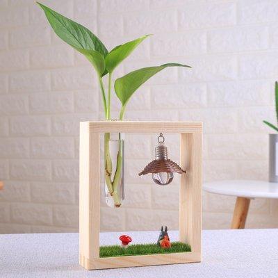 歐式花瓶創意木架水培植物玻璃透明花瓶簡約綠蘿文竹插花花瓶工藝裝飾擺件