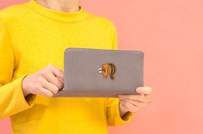 。uSweet。 韓國bentoy便利店刺繡帆布錢包 長夾灰色松鼠款下標區 台北市
