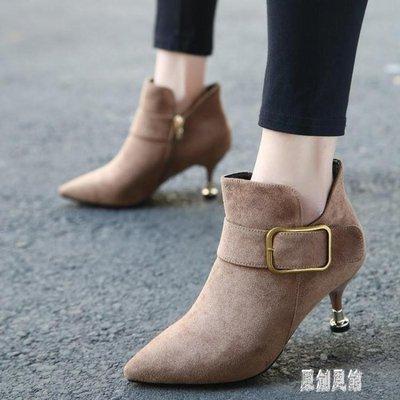 小高跟短靴女細跟短靴馬丁靴2019新款高跟鞋秋冬瘦瘦靴尖頭裸靴 LR13533