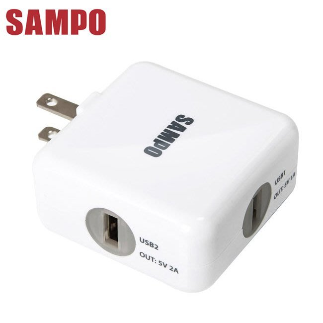 SAMPO聲寶 雙USB 3.1A旅行用充電器(DQ-U1202UL)