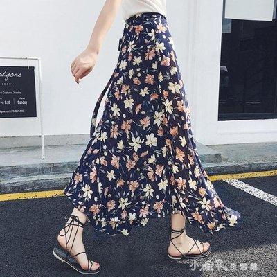 雪紡半身裙女夏韓版百搭一片式小碎花系帶時尚高腰中長款沙灘長裙    全館免運