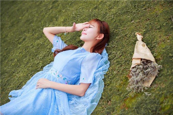 復古 連身裙 甜美 印花 長袖洋裝 春夏宮廷復古繡花蕾絲蓬蓬公主中長裙少女表演禮服修身連衣裙