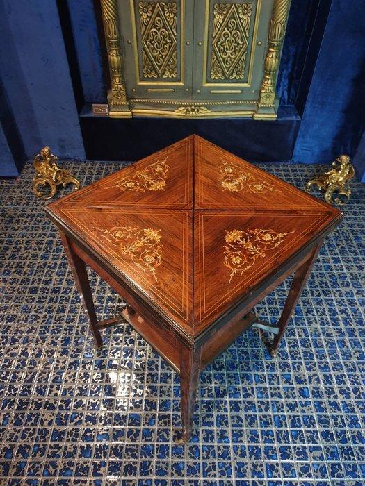 ⚜️ 卡卡頌 皇家之門 . 歐洲古董 ⚜️稀有 !19世紀 法國老件 全手工花卉 鑲嵌 可旋轉 牌桌 咖啡桌 ✬
