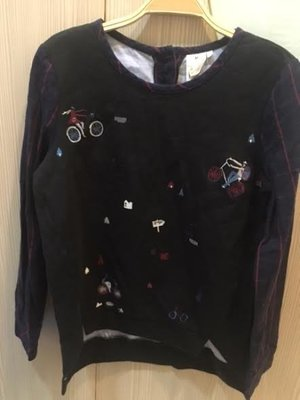 小花別針、專櫃品牌【GOZO】休閒個性假兩件拼接上衣