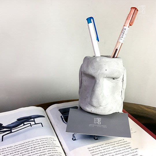 【曙muse】Moai摩艾微笑 水泥質感筆筒名片架 置物架 創意擺飾  Loft 工業風 咖啡廳 民宿 餐廳 住家 設計