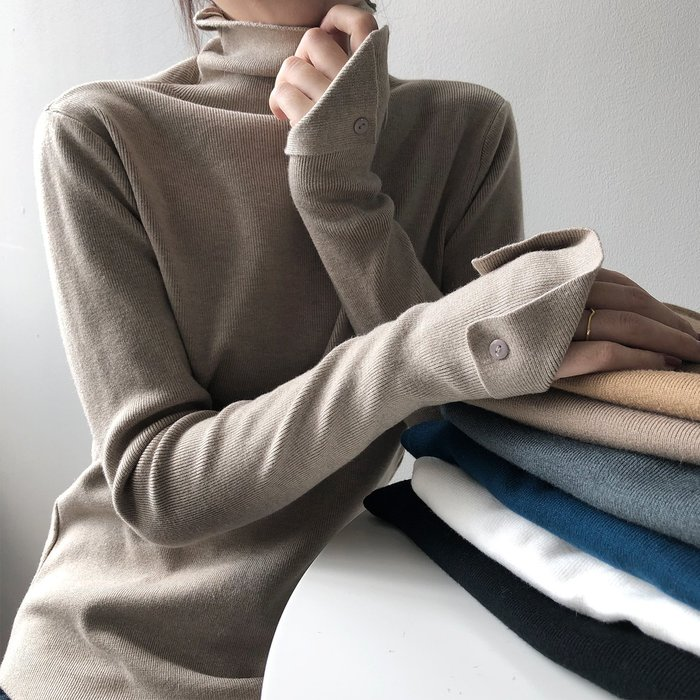 YOHO長袖針織衫(YSP637)實拍百搭純色彈力内搭衣高領針織衫 長袖上衣 打底衫 有7色