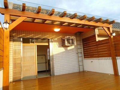 庭院 露台 玻璃 採光罩 遮雨棚 雨遮 遮陽棚 圍牆 圍籬 木地板 花台 南方松 原木 工程免費估價【園匠工坊】