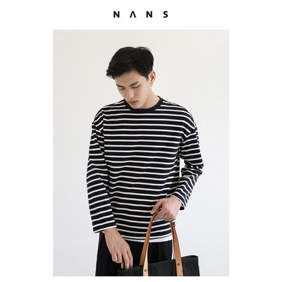 【NANS】條紋落肩長袖TEE / LONG-SLEEVED STRIPE TEE - NS2E10