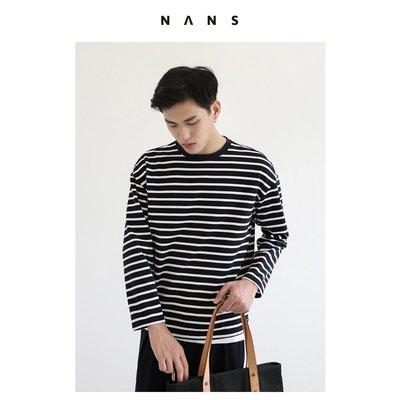 【NANS】條紋落肩長袖TEE / LONG-SLEEVED STRIPE TEE - NS2E10