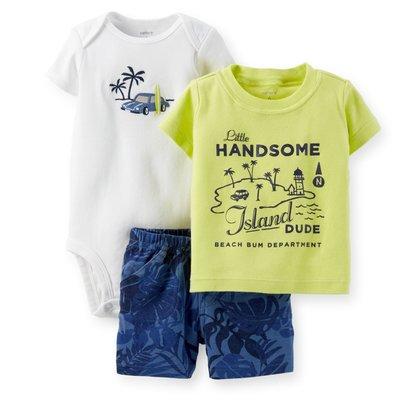 【Carters 卡特】Carter's 美國正品 短袖T恤+包屁衣+短褲 男寶寶三件組套裝 USA美國精品時尚小舖