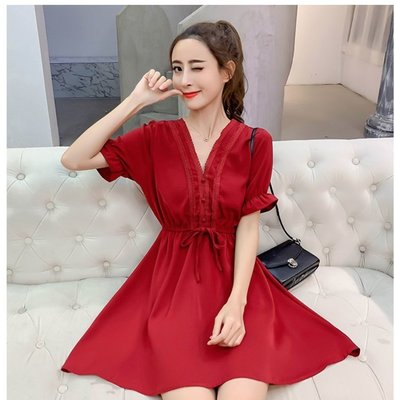 【金源國際】夏裝溫柔仙女顯瘦紅色V領收腰A字連衣裙 S-XL