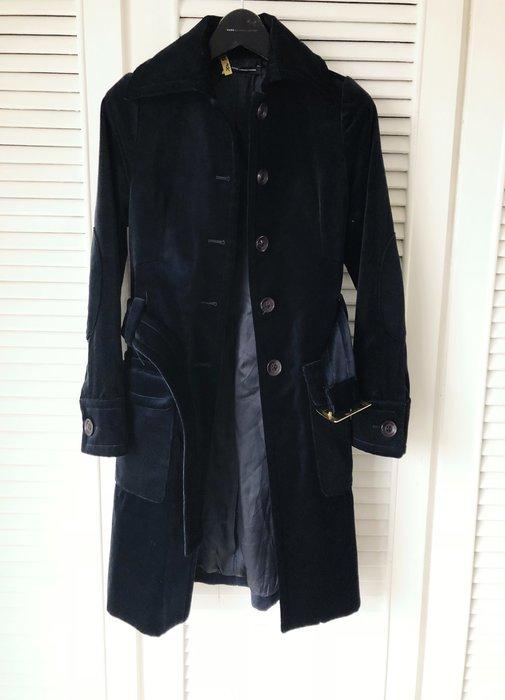 原價六萬 義大利🇮🇹 ATOS 海軍藍天鵝絨風衣式繫帶大衣