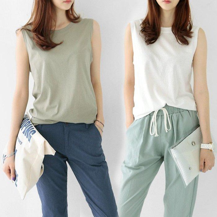 韓國夏裝新款圓領寬鬆無袖背心t恤女夏外穿棉質上衣中長款打底衫