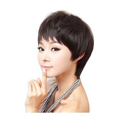 整頂 假髮 真髮絲-蓬鬆微捲斜瀏海短髮女假髮2色73vc8[獨家進口][米蘭精品]