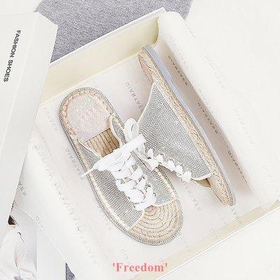 Freedom~女鞋2019新款夏季網紅平底系帶水鉆外穿拖鞋女時尚百搭草編涼拖沙灘鞋