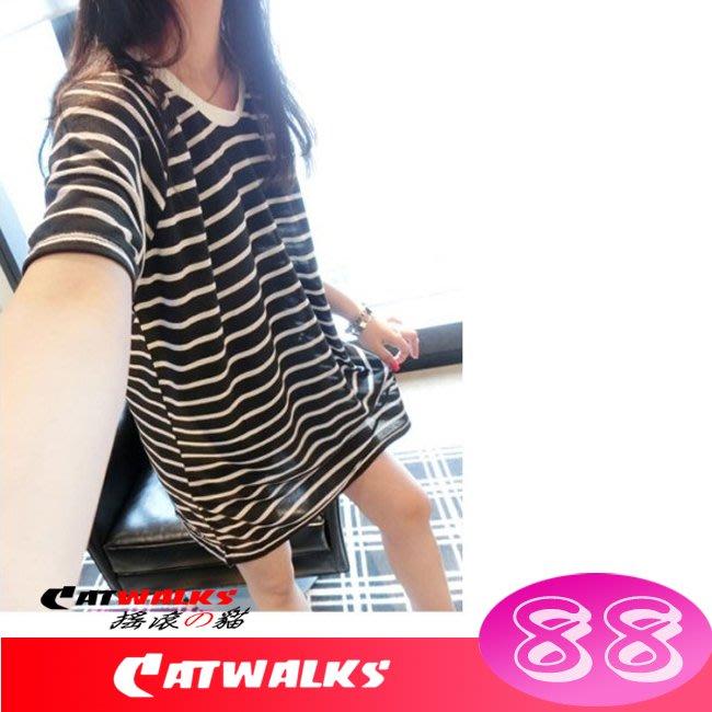【 Catwalk's 搖滾の貓 】韓版U領橫條紋透氣針織短袖上衣