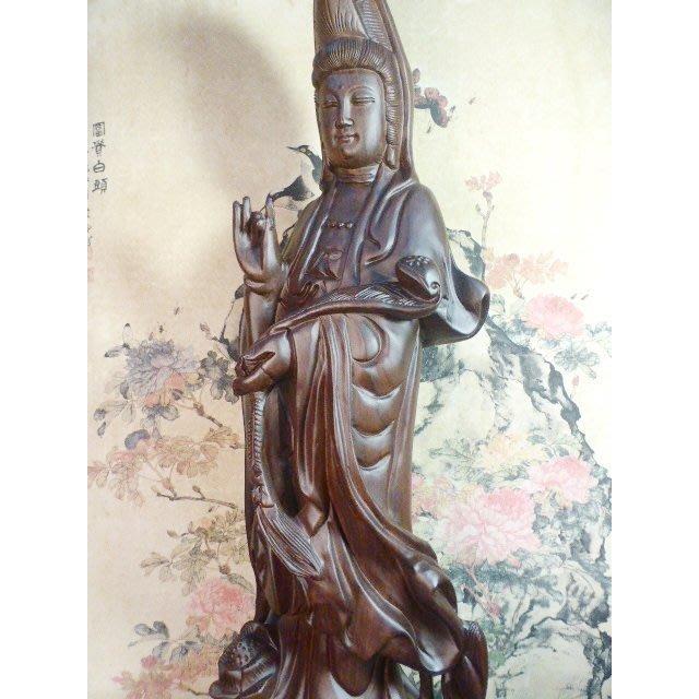 買1送1喔~佛教藝術文物~黑檀木~ 買蓮花座如意觀音立像送蓮花座寶瓶觀音座像~結緣特價:16000元~