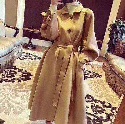 原單 外貿 尾單 //趕緊 美炸了秋冬裝新款手工長款100%雙面呢羊毛大衣女外套