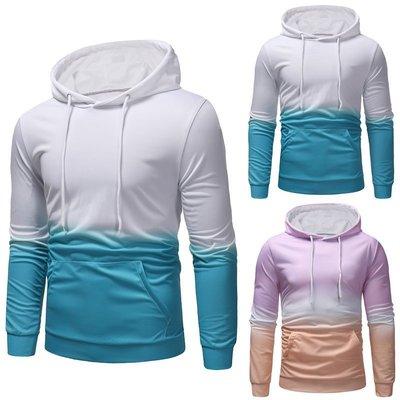 『潮范』  N4 新款外貿創意漸變印花連帽T恤 男士衛衣 素面T恤 棉質T恤 套頭衫NRG301