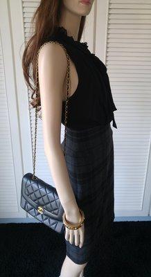 BCBG 黑色100% Silk拼接巴寶莉風羊毛洋裝
