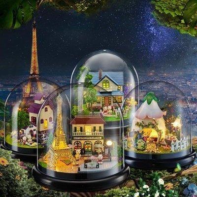 ~童妡小屋~一起遊玩系列❶ ~可加購音樂~ 龍貓 DIY小屋 玻璃罩 聖誕 情人   音樂盒