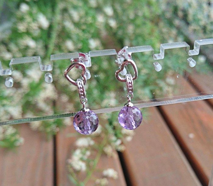 ~水晶花園~ 天然能量水晶 氣質 紫水晶耳環