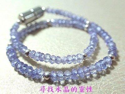 漂亮高雅清透坦桑石手環 手鍊  盤珠 925銀