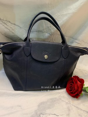 【Brand二手名品】LONGCHAMP 小羊皮摺疊兩用包 深藍近黑色 水餃包 媽媽包 肩背斜背包