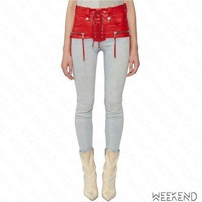 【WEEKEND】 UNRAVEL 異材質 拼接 假兩件 綁帶 合身 皮革 牛仔褲 長褲 紅色 19春夏