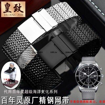 米蘭鋼手表帶 適用百年靈 BREITLING超級海洋文化二代B20表鏈22mm