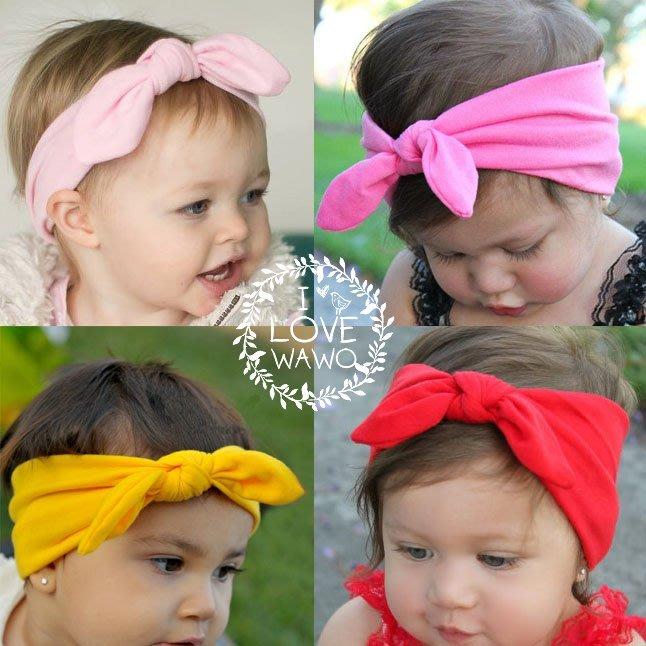 【 I Love wawo 】現貨出清 歐美 素面 純色 兔耳朵 兒童 髮帶 蝴蝶結柔軟彈力 髮帶 嬰兒 寶寶