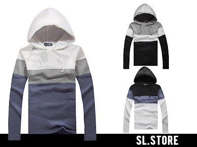 SL Store【SCM2016】連帽三色拼接雙口袋棉質長袖上衣‧黑/白/灰/S/M/L