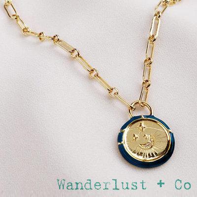 Wanderlust+Co 澳洲品牌 鑲鑽月亮錢幣項鍊 背面刻字款 深藍色X金色 Affirmation