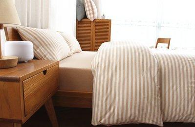 日式新疆天竺棉系列~MUJI無印良品風 純棉簡約墨綠中條紋加大雙人床包被套4件組(6尺)~PicHome 挑 家居