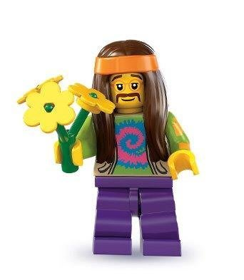 絕版品【LEGO 樂高】玩具 積木/ Minifigures人偶包系列: 7代 8831   長髮嬉皮+小黃花