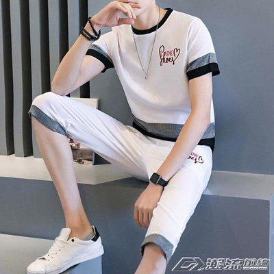 套裝男七分褲韓版潮修身學生運動休閒青少年短袖短褲一套